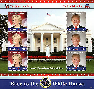 Liberia 2016 MNH Hillary Clinton & Donald Trump 6v M/S US Presidents Stamps