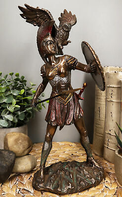"Greek Goddess of War and Wisdom Athena 12"" Height Figurine in Bronze Finish"