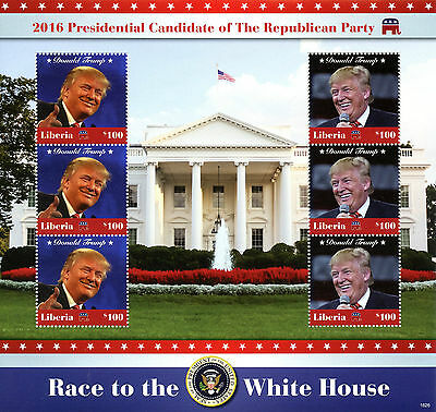 Liberia 2016 MNH Donald Trump Republican Party 6v M/S US Presidents Stamps
