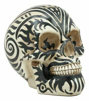 Celtic Knotwork Tribal Tattoo Skull Money Bank Statue Figurine Handpainted Resin