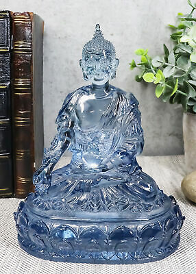 Blue Translucent Akshobhya Medicine Buddha Of Healing and Purity Figurine For...
