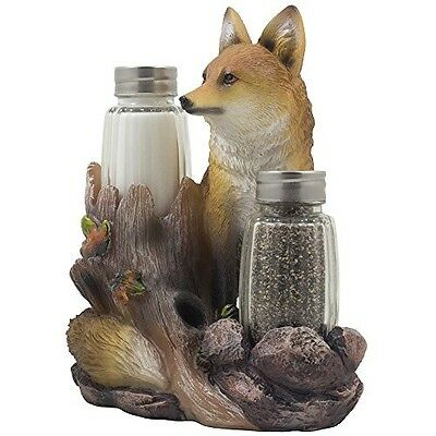 Decorative Sly Fox Salt and Pepper Shaker Set with Holder Figurine Display St...
