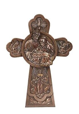 9.25 Inch Bronze Colored Holy Family Cross Religious Wall Figurine