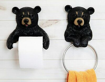 Istatue Black Bear Toilet Paper and Hand Towel Holder Bathroom Wall Decoration