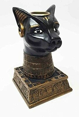 Ancient Egyptian Goddess Bastet Deity Candle Holder Resin Figurine Sculpture