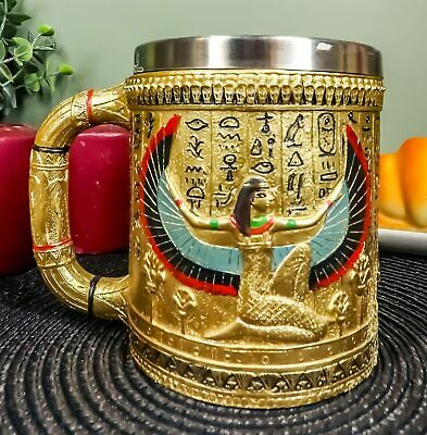 Egyptian Winged Isis Golden Coffee Mug 12 oz. Tankard Stein Cup
