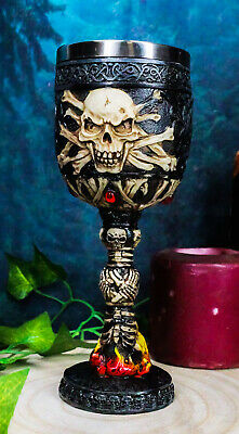 """Death Skeleton Bones In Inferno Hell Fire Wine Drink Goblet Chalice Cup 7"""" Tall"""