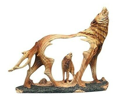 "Unison Gifts Wolf Howling in the Wild Woodlike Bust Scene Carving Figurine 7.5""h"