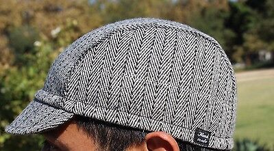 Cycling cap wool  color Gray light w/ black  lines  one size handmade