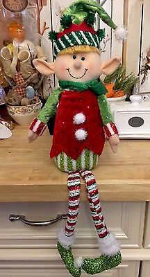 Christmas Sitting Elf Peppermint Candy Theme Wreath Swag FLORAL Pick Decor