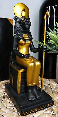 """Ancient Goddess Sitting Sekhmet Collectible Figurine, Egypt 7.25""""H by Summit"""