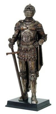 """Medieval Knight Statue Bronze Finishing Cold Cast Resin Statue 11 3/4"""" tall"""
