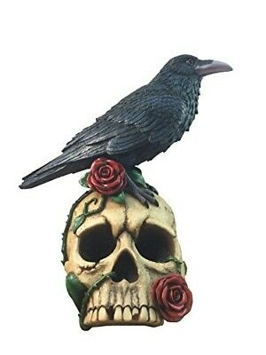 Decorative Gothic Raven On Skull Rose Collectible Figurine By DWK | Crow Bird...