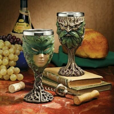 Celtic Forest Spirit Greenman And Green Lady Wine Goblet Chalice Set of 2 Pcs