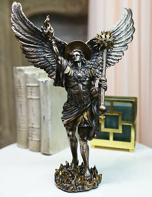 12.75 Inch Archangel Uriel with Spear Religious Resin Statue Figurine