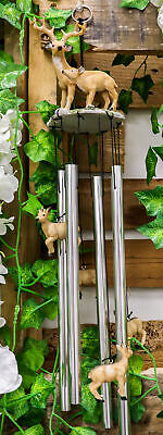 Woodlands Buck Deer Fawn Baby Family Resonant Relaxing Wind Chime Garden Patio