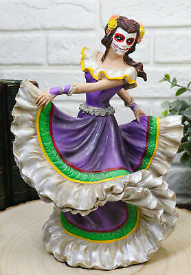 8 Inch Day of The Dead Mexican Female Dancer Statue Figurine