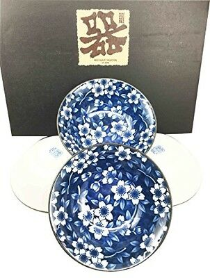 "Made in Japan Blue Floral Pattern Glazed Ceramic Rice Meal Soup Dining 5.5"" D..."