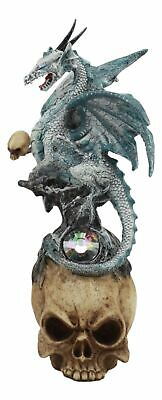 Dragon Lord Azul Standing On Skull With Gemstone Oracle Figurine Myth Statue