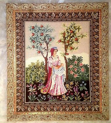 19th Century Framed Needlepoint in Italian Picture Frame