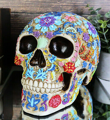 Engraved Colored Floral Human Skull Halloween Figurine Collectible New Colorful