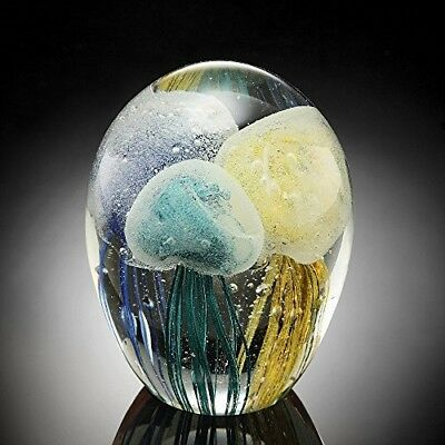 Glow in the Dark Tricolored Jellyfish in 4.5 inch Art Glass Sculpture by SPI