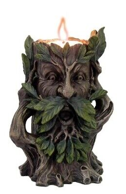 5 Inch Hear No Evil Greenman Figurine Candle Holder Resin Made