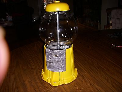 "Vintage 15 "" Yellow  Gumball Machine"