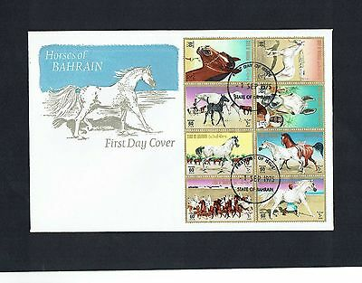 Bahrain: 1975, Horses, fine used set on first day cover.