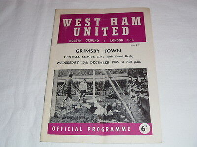 1965-66 WEST HAM UNITED v Grimsby Town COMPLIMENTARY COPY League Cup Replay