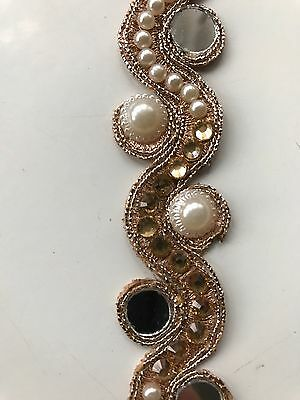 ATTRACTIVE INDIAN ROSE GOLD WAVY MIRRORS & PEARLS/CRYSTALS TRIM/LACE-One METER