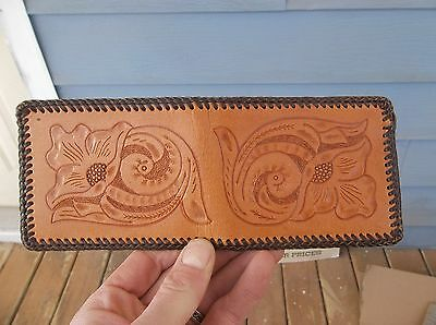 Vintage Mexican Hand Tooled Leather Mens Wallet Billfold