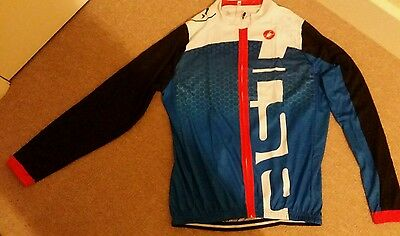 Mens  Castelli Long Sleeve Cycling Jersey  and Pants Set XXL (Blue White)