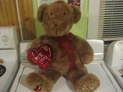 "Dan Dee 24"" Valentines Day Plush Bear Holding A Red Heart I Love You 2014"