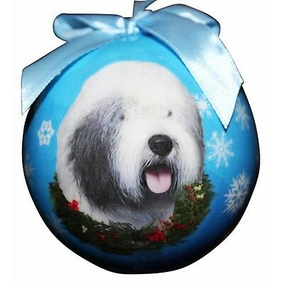 Old English Sheepdog Shatterproof Ball Dog Christmas Ornament