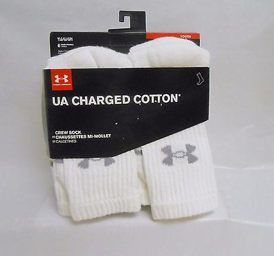UA Charged Under Armour Boys White Crew Cotton Socks 6 Pairs Youth Large New