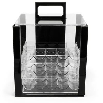 1000 Count Acrylic Casino Poker Chip Carrier Case with 10 Clear Chip Trays New
