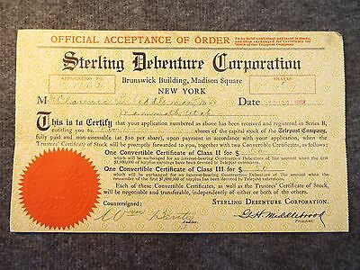 Sterling Debenture Corporation 1908 Convertible Certificate for Telepost Company