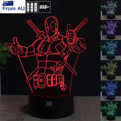 Marvel Deadpool 3D Acrylic LED Night Light 7color Touch Switch Table Desk Lamp