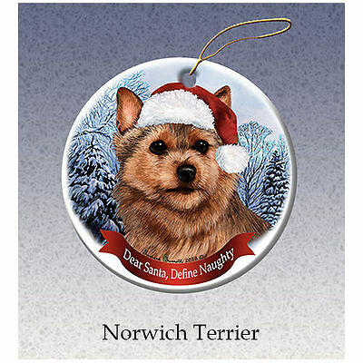 Norwich Terrier Howliday Porcelain China Dog Christmas Ornament
