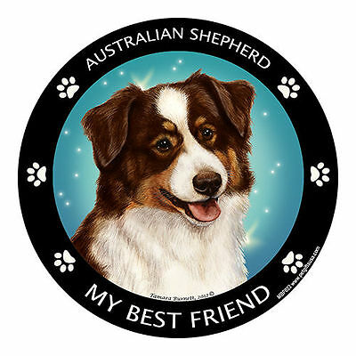My Australian Shepherd Red Tri Is My Best Friend Dog Car Magnet