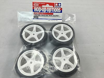 Tamiya 93032 5-Spoke Wheels w/Cemented Tires 24mm (4)