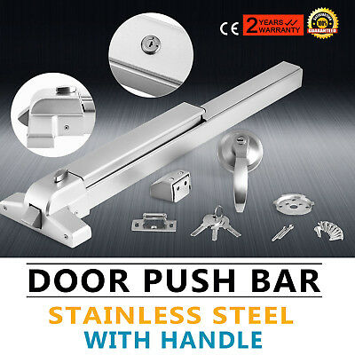 Door Push Bar Exit Lock W/ Lever W/ Handle Fire-Proof Rounded Edge Panic Exit