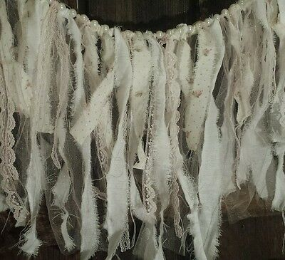 Lace Rag Banner blush PINK Tattered fabric garland baby rags nursery Backdrop