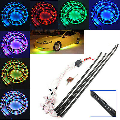 4x 7 Color LED Car Under Glow Neon Lights Strip Kit + Wireless Remote Control UK