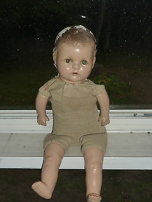 """20"""" VINTAGE COMPOSITION / CLOTH JOINTED BOY DOLL Blue Glass Sleep Eyes - to Fix"""