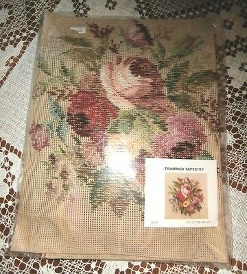 Vtg Dunlicraft trammed tapestry needlepoint kit floral roses 27 by 27 inches