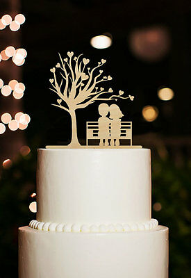 Personalized Groom And Bride Silhouette Romantic Love Heart Wedding Cake Topper