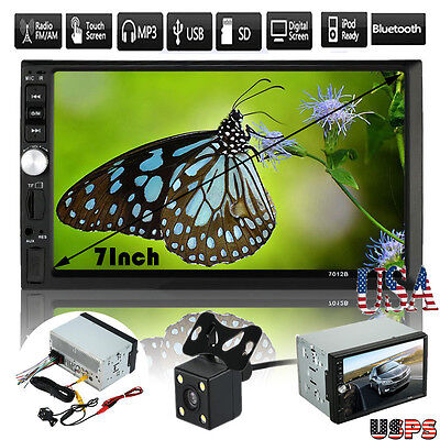 "7"" Double 2 Din Car Stereo MP5 MP3 Player Radio Bluetooth USB AUX Parking Camera"