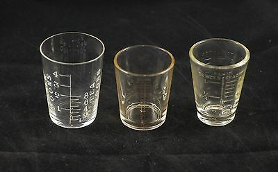 Vintage Lot of Three Small Measuring Glasses